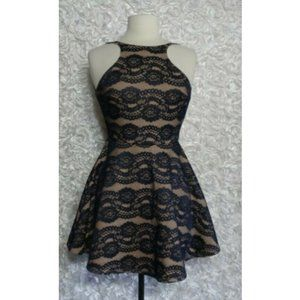 ANGL Size M Lace Fit Flare Dress Open Back